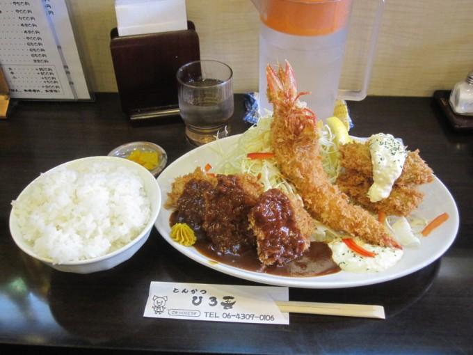 一口ヒレ&カキフライ定食+海老フライ / とんかつ ひろ喜