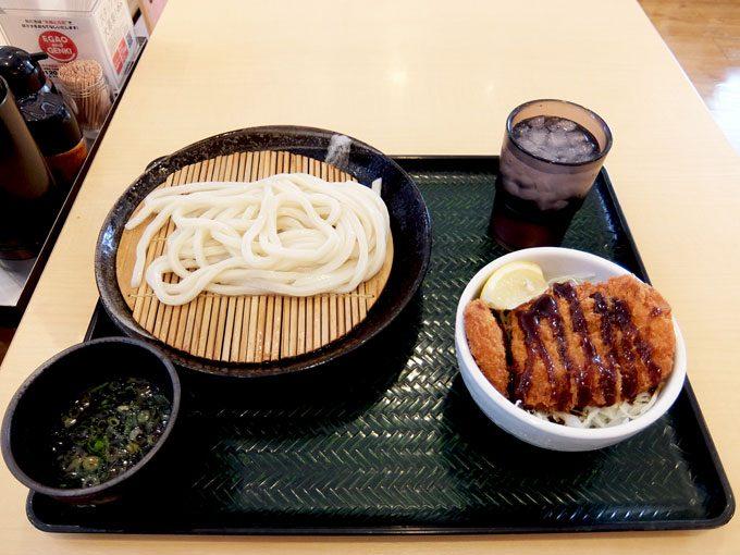 はなまるうどん「お得なミニ丼セットメニュー(ロースカツ丼・ざるうどん)」