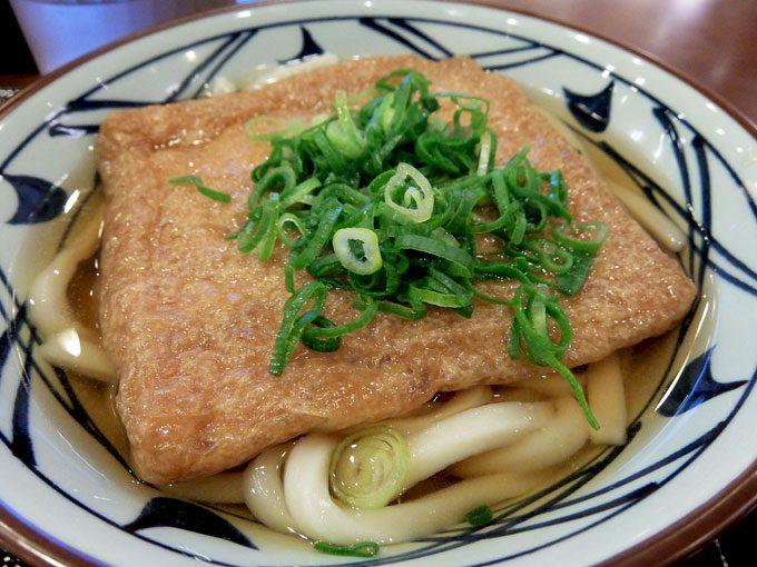 丸亀製麺「かけうどん・きつねあげ・いなり」 〜ほんんり甘めのあげがおいしいきつねあげといなり〜