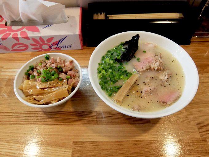 麺や 一想「鶏白湯 塩、チャーシュー丼」〜大阪 久宝寺口 めっちゃうまい!!〜