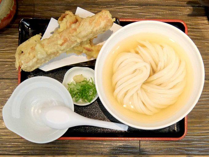 極楽うどん Ah-麺「ひやかけ、竹鶏天セット」〜大阪 寺田町 つるつるもっちりうどんを、すっきりヒンヤリのお出汁で!!〜