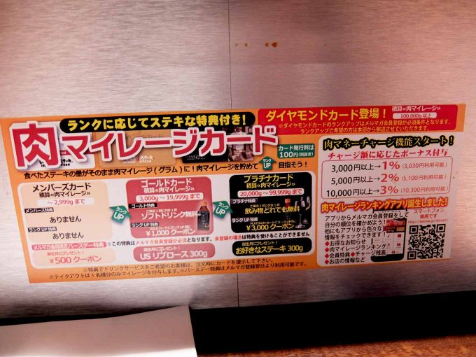 いきなりステーキ 梅田店 マイレージカード告知