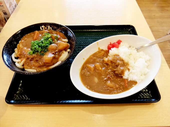 はなまるうどん「カレーうどん(中)・カレー丼」 〜お得なミニ丼セットメニュー〜