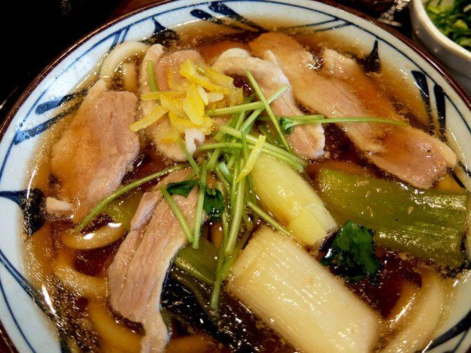 丸亀製麺「鴨ねぎうどん+天丼」〜甘めで香りの良い熱々おだしは寒い日には最高です〜