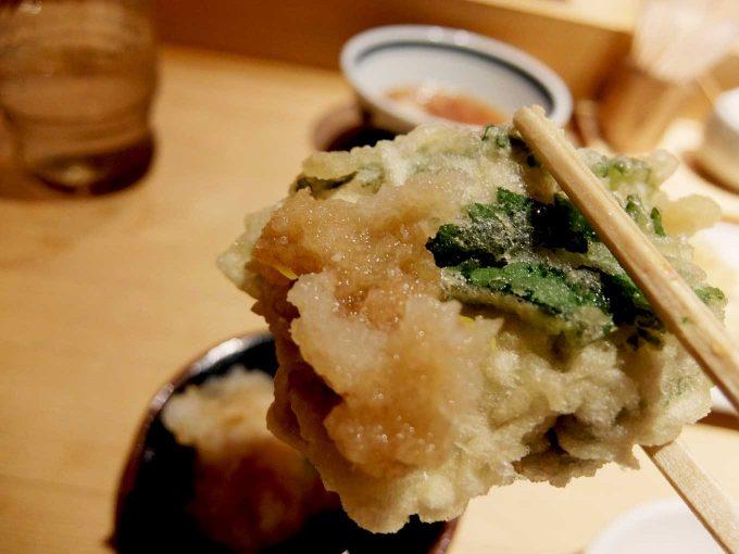 天ぷら まきの 梅田店 秋のご馳走定食 牡蠣の大葉巻