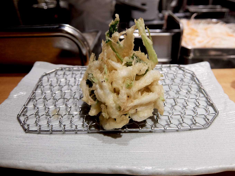 天ぷら まきの 梅田店 秋のご馳走定食 白えびと三つ葉のかき揚げ