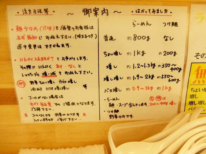笑福◯わ 梅田店 注文方法など 張り紙