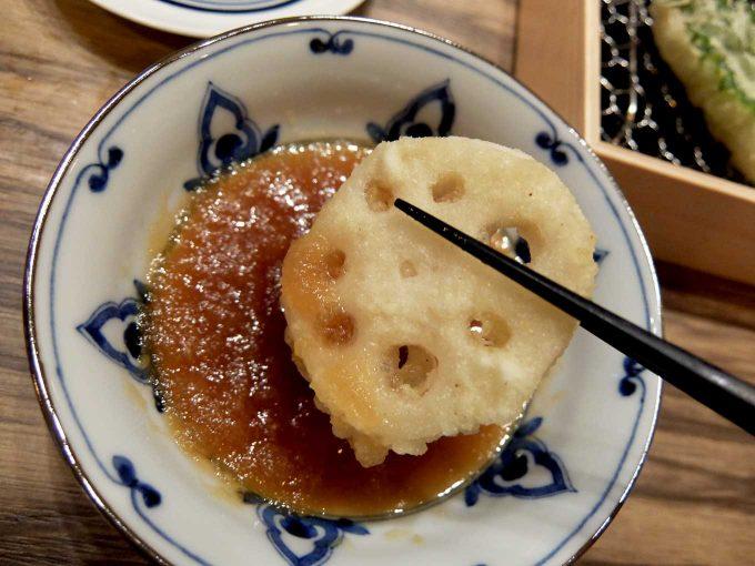 大阪 梅田 ルクア バルチカ「立呑み・天ぷら 喜久や」れんこん