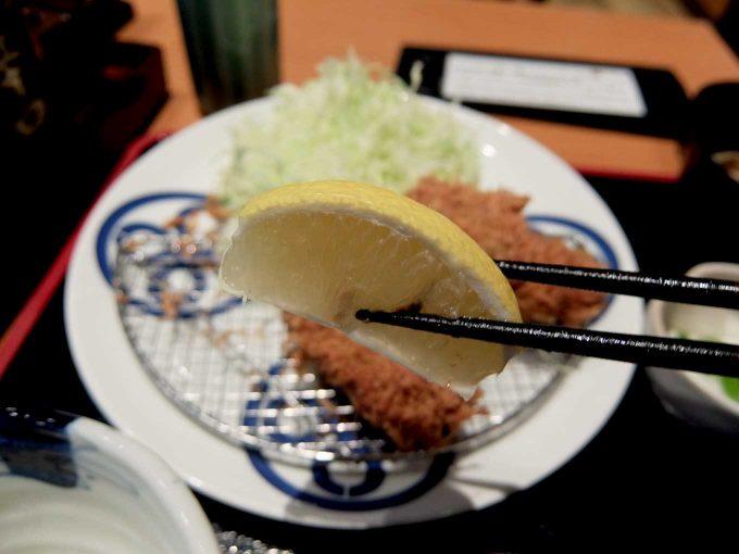 大阪 梅田 「とんかつまい泉 ルクア イーレ店」カキ・ヒレひとくちかつ膳 レモン
