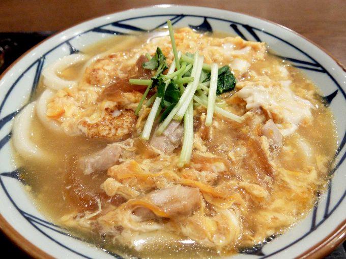 丸亀製麺 親子とじうどん 醤油味