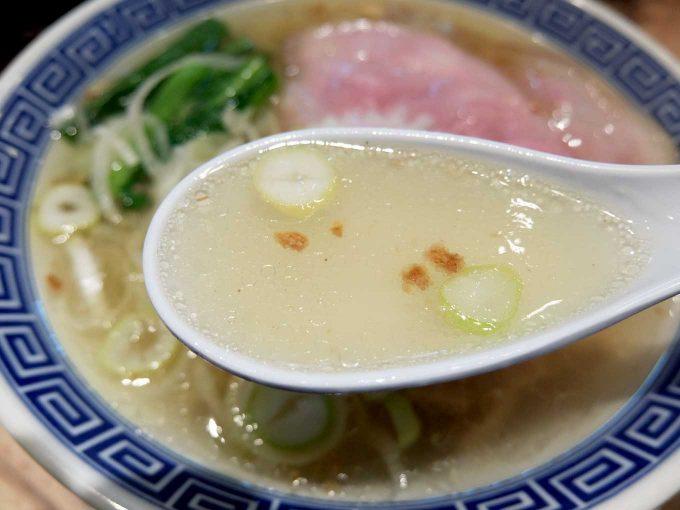 大阪 梅田「サバ6製麺所 お初天神店」サバ塩そば スープ