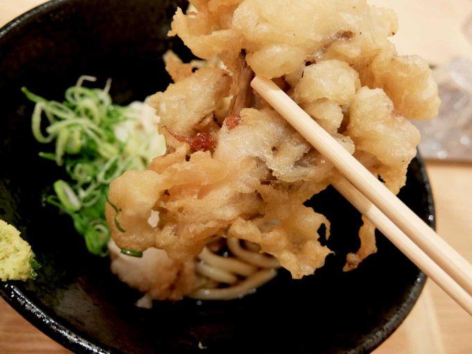 大阪 梅田 ルクア バルチカ「本町製麺所 天 ルクア大阪店」鶏天ぶっかけ まいたけ