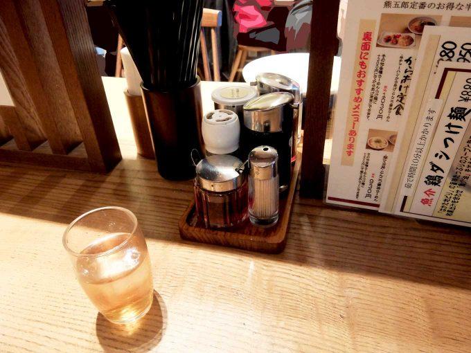 らーめん かんじん堂 熊五郎 テーブル in 大阪 梅田