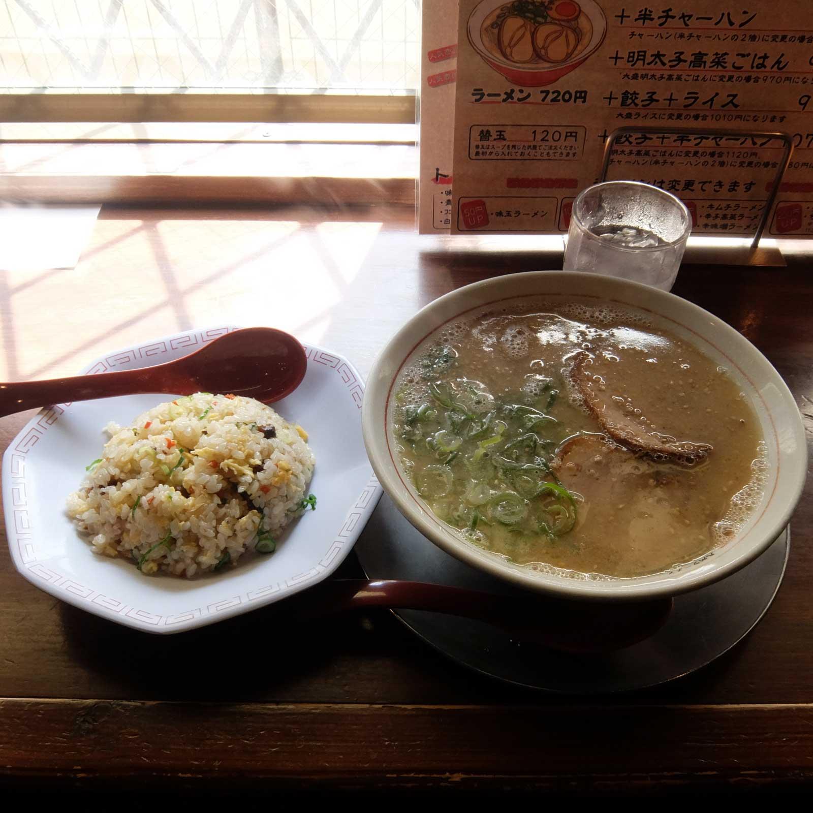 ラーメン+半チャーハン「九州ラーメン 片岡製作所」in 福島 大阪